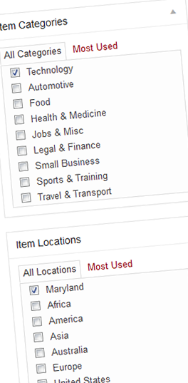 listing-categories and location